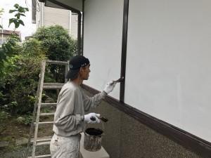 熊本県 塗装工事 木部塗装中