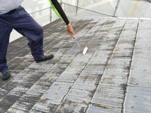 筑紫野市 塗装工事 K様邸 屋根塗装 カビ除去剤塗布