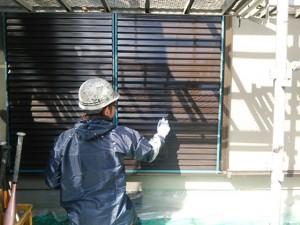 筑紫野市 塗装工事 H様邸 雨戸塗装 上塗り