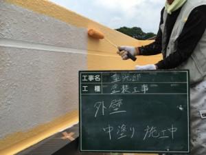 福岡市 中央区 塗装工事 S様邸 外壁 中塗り施工中