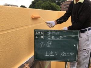 福岡市 中央区 塗装工事 S様邸 外壁 上塗り施工中