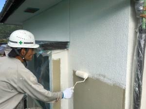 筑紫野市 塗装工事 H様邸 外壁塗装 下塗り