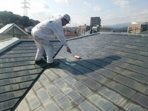 筑紫野市 T様邸 塗装工事 屋根 下塗り 塗装