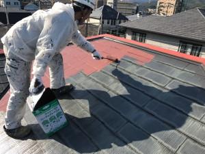 筑紫野市 T様邸 塗装工事 屋根 中塗り 塗装