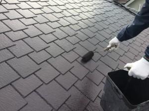 福岡県 基山町 M様邸 塗装工事 屋根 上塗り
