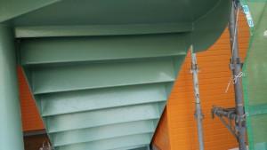福岡県 粕屋郡 塗装工事 篠栗アパート 鉄骨階段 上塗り 完了