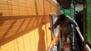 福岡県 塗装工事 篠栗アパート 外壁塗装 上塗り