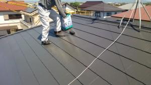 福岡県 久留米市 塗装工事 N様邸 屋根塗装 上塗り2回目