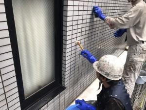 春日市 バジェットホテル タイル洗浄 施工状況