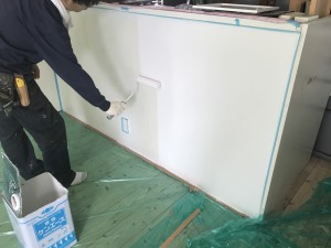 佐賀県 内部 壁 塗装工事  施工中