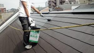 福岡市 西区 塗装工事 コビソル姪の浜 屋根 コロニアル スレート 塗装 上塗り2回目