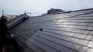福岡市 西区 塗装工事 コビソル姪の浜 屋根 コロニアル スレート 塗装 上塗り1回目