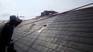 福岡市 西区 塗装工事 コビソル姪の浜 屋根 塗装工事 下塗り施工中