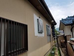 筑紫野市 塗装工事 モルタル補修箇所 塗装 下地肌合せ 完了