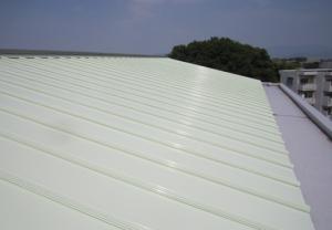 福岡市 プレジデント寺塚 板金屋根 塗装工事  遮熱塗装 完了