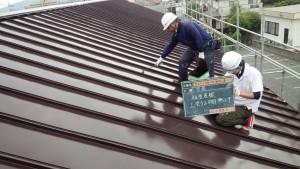 福岡県 糸島市 塗装工事 キリスト教会 瓦棒 板金屋根 上塗り 塗装 2回目