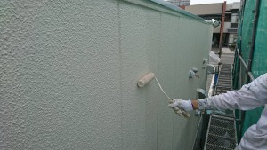 大野城市 A様 所有 テナント 塗装工事 ALC 外壁  上塗り オーデフレッシュSi 2回目