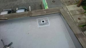 大野城市 レヴール筒井 屋上 防水工事 ウレタン塗膜防水密着工法  改修用ドレン 取付け ウレタンシール充填 完了