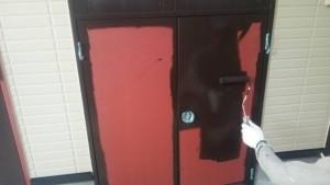 福岡県 福岡市 南区 アパート 塗装工事 ベルツ高宮 パイプシャフト 鉄部 塗装 中塗り