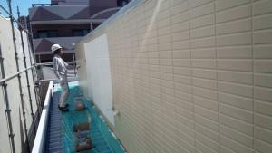 福岡県 福岡市 南区 アパート 塗装工事 ベルツ高宮 外壁下塗り 日本ペイント オーデフレッシュSi 1回目