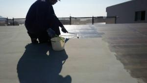 大野城市 レヴール筒井 屋上 防水工事 ウレタン塗膜防水密着工法 プライマー塗布