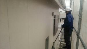 筑紫野市 住宅 塗装工事 サイディング 外壁 高圧洗浄 施工中