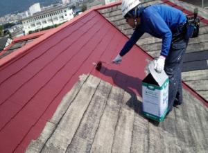 筑紫野市 H様邸 住宅 塗装工事 屋根 コロニアル 塗装 上塗り 1回目