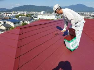 筑紫野市 H様邸 住宅 塗装工事 屋根 コロニアル 塗装 上塗り 2回目