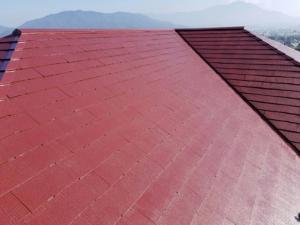 筑紫野市 H様邸 住宅 塗装工事 屋根 コロニアル 塗装 上塗り 完了