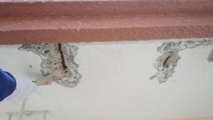 大野城市 レヴール筒井 軒裏 塗装工事 下地補修 爆裂除去 完了