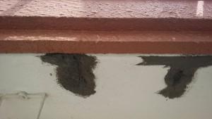 大野城市 レヴール筒井 軒裏 塗装工事 下地補修 モルタル埋戻し 1回目