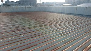 春日市 たんぽぽ整骨院 折半屋根 塗装工事 日本ペイント ファインパーフェクトベスト 仕上げ 施工前