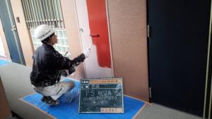 太宰府市 ベアバレー太宰府 マンション 改修工事 パイプシャフト ケレン 下塗り 鉄部塗装