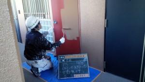 太宰府市 ベアバレー太宰府 マンション 改修工事 パイプシャフト 錆止め完了 中塗り施工中
