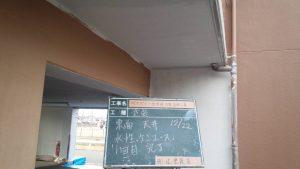 太宰府市 ベアバレー太宰府 マンション 塗装工事 軒裏 日本ペイント 水性ケンエース塗装 1回目 塗装完了