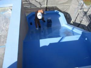 太宰府市 ベアバレー太宰府 マンション 防水工事 ウレタン塗膜防水塗料 2回目塗布 状況