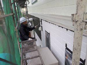 福岡県 筑後市 塗装工事 Y様邸 外壁サイディングボード パーフェクトセラミックトップG 中塗り