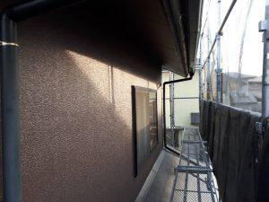 福岡県 新宮町 H様邸 外壁モルタル 塗装工事 上塗り パーフェクトトップ 仕上げ塗装 完了
