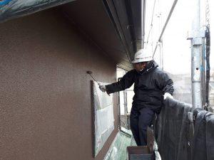 福岡県 新宮町 H様邸 外壁モルタル 塗装工事 上塗り パーフェクトトップ 2回目