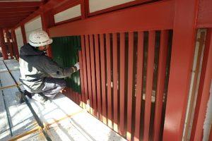 太宰府市 大宰府展示館 鉄部 塗装工事 日本ペイント ファイン中塗りDP 塗装 施工中