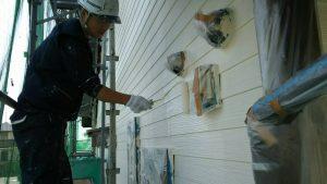 福岡県 小郡市 T様邸 塗装工事 サイディング 外壁 水谷ペイント ナノコンポジットW 上塗り