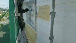 福岡県 小郡市 T様邸 塗装工事 サイディング 外壁 水谷ペイント ナノコンポジットW 中塗り