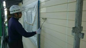 福岡県 小郡市 T様邸 塗装工事 サイディング 外壁 水谷ペイント ナノコンポジットW 下塗り
