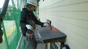 福岡県 小郡市 T様邸 塗装工事 板金 錆止め 下塗り 施工中