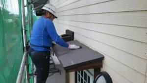 福岡県 小郡市 T様邸 塗装工事 下地 庇板金 ケレン作業