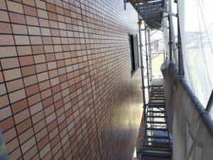 福岡県 粕屋郡 須恵町 アパート改修塗装工事 外壁 磁器タイル塗装 日本ペイント ファイングラシーSi 塗装完了