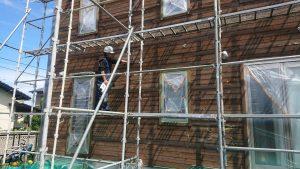 福岡県 太宰府市 T様邸 木部 塗装工事 研磨紙 表面磨き 施工中