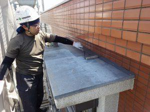 福岡市 小笹 F様邸 小庇 防水工事 ポリマーセメント系塗膜防水 下塗り施工中