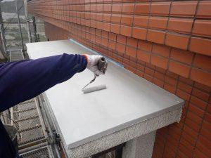 福岡市 小笹 F様邸 小庇 防水工事 ポリマーセメント系塗膜防水 防水保護塗料 トップコート仕上げ