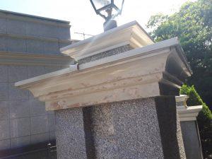 福岡市 中央区 キリスト教会 外灯土台 幕板 板金 塗装工事 下地補修 不陸調整 パテ補修 完了